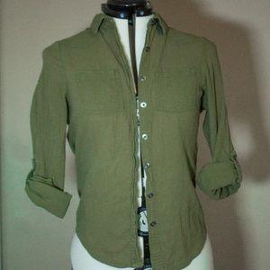 Army green button up shirt